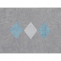Caramella - Dywan szary z białymi i niebieskimi rombami