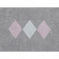 Caramella - Dywan szary z białymi i różowymi rombami