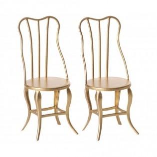 Maileg - Krzesełka vintage w kolorze złotym