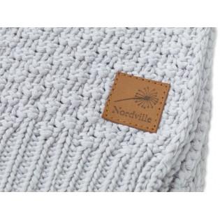 Nordville - Delikatny i mięciutki kocyk tkany dla niemowląt i dzieci- jasny szary