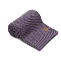 Nordville - Delikatny i mięciutki kocyk tkany dla niemowląt i dzieci- fioletowy