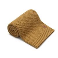 Nordville - Delikatny i mięciutki kocyk tkany dla niemowląt i dzieci- musztardowy
